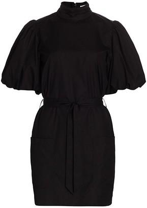 Frame Margot Puff-Sleeve Belted Dress
