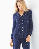 Soma Intimates Long Sleeve Notch Collar Pajama Top Mystical Sky Navy