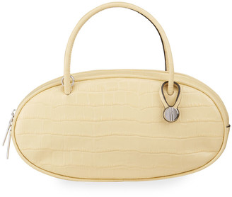 Hayward Croc-Embossed Pill Box Top-Handle Bag