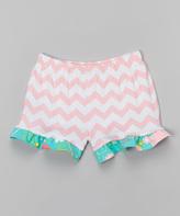 Flap Happy Coral Chevron Ruffle Shorts - Infant Toddler & Girls