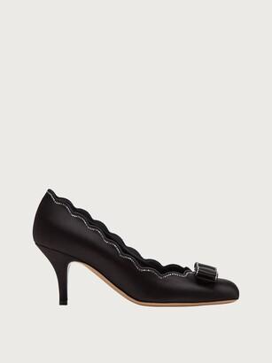 Salvatore Ferragamo Women Vara shell studded pump shoe Black Size 4.5