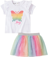 Juicy Couture Girls' Casual Skirts 0026 - White & Rainbow Multicolor Butterfly Ruffle-Trim Tee Set - Newborn & Infant
