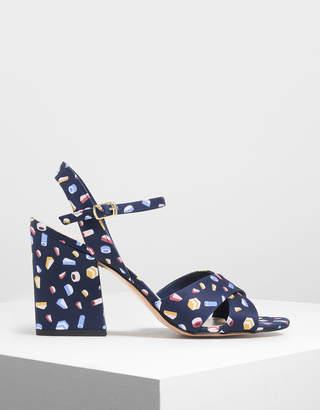 Charles & Keith Criss Cross Printed Block Heel Sandals