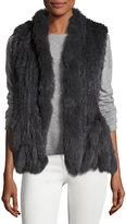 Neiman Marcus Fringed Fur Vest, Gray