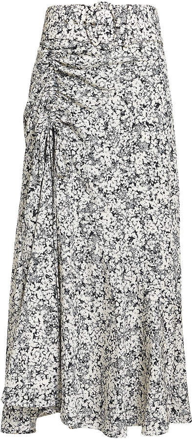 Nicholas Paneled Ruched Floral Midi Skirt
