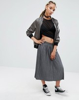 Pull&Bear Jersey Pleated Midi Skirt In Grey