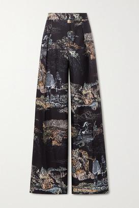 Chloé Printed Silk-twill Wide-leg Pants - Black