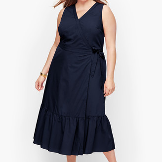 Talbots V-Neck Poplin Wrap Dress