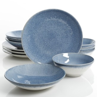 Gibson Elite Ombre Blue 12 Piece Double Bowl Dinnerware Set