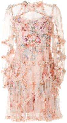 Needle & Thread Floral Ruffled Mini Dress