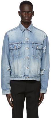 Balenciaga Blue Denim Ripped Jacket