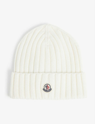 Moncler Logo-embroidered knitted wool beanie