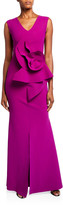Chiara Boni V-Neck Sleeveless 3D Floral Embellished Gown