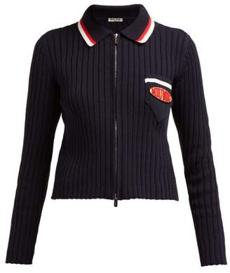Miu Miu Logo-patch Ribbed-knit Cotton Zip Cardigan - Womens - Navy Multi