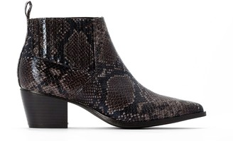 La Redoute Collections Chelsea Ankle Western Boots with Pointed Toe in Faux Snakeskin