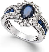 Macy's Sapphire (2-1/5 ct. t.w.) and Diamond (3/4 ct. t.w.) Ring in 14k White Gold