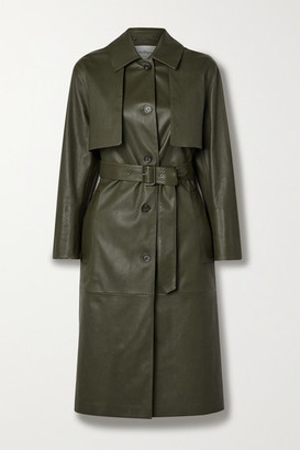 Salvatore Ferragamo Paneled Leather Trench Coat - Army green