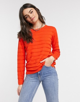B.young textured stripe jumper in red