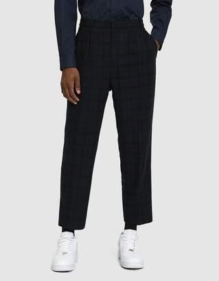 Need Double Pleat Wool Plaid Trouser in Black/Dark Green