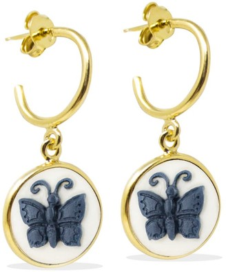 Vintouch Italy Butterfly Cameo Mini Hoop Earrings