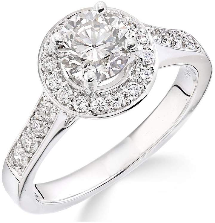 Very 18ct White Gold Millgrain Edge 70 Point Diamond Round Halo Ring
