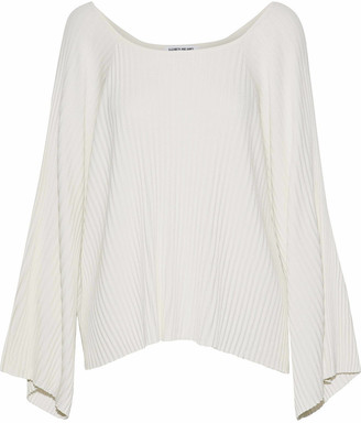 Elizabeth and James Draped Ribbed-knit Top