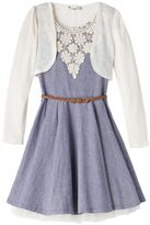 Knitworks Girls 7-16 Knit Shrug & Chambray Skater Dress Set