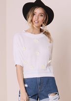 Missy Empire Karmen White Daisy Front Knitted Top