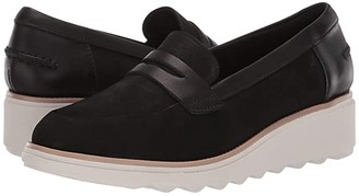 Clarks Sharon Ranch (Black Nubuck/Leather Combi) Women's Wedge Shoes