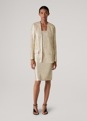 St. John Signature Statement Sequin Knit Scoop Neck Dress