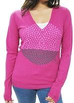 291 - Women's Pink Flower Cashmere Sweater