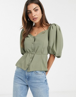 ASOS DESIGN button front tea blouse with puff sleeve