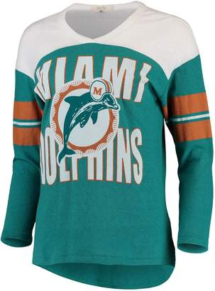 Junk Food Clothing Unbranded Women's Aqua/White Miami Dolphins Throwback Football Long Sleeve Tri-Blend T-Shirt