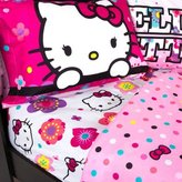 Hello Kitty Adorable Bedding Sheet Set, Floral Ombre Theme, Pink, Full