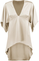 Halston Asymmetric Satin Top