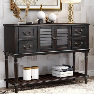 Merax Console Table with 4 Storage Drawers for Entryway Sofa Table with Shutter Doors