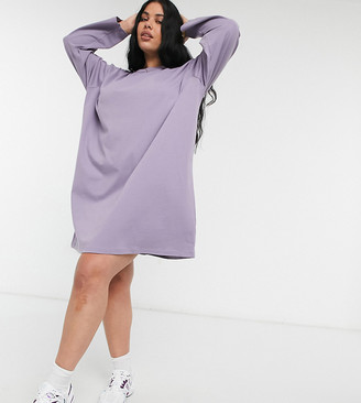 ASOS DESIGN Curve oversized long sleeve t-shirt dress in purple ash
