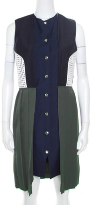 J.W.Anderson Colorblock Faux Vest Layered Pleated Sleeveless Dress L
