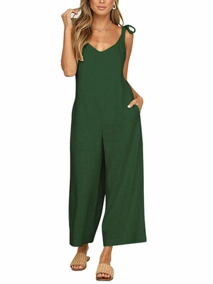 Abtel Women Casual Loose Overalls Baggy Sleeveless Jumpsuits Rompers Plus Size Backless Wide Leg Jumpsuit Playsuit XXL Army Green