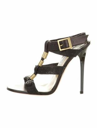 Jimmy Choo Leather T-Strap Sandals Black
