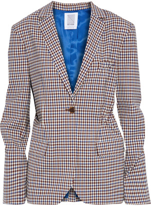 Rosie Assoulin Ruched Gingham Wool-blend Blazer