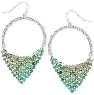 GUESS Silver-Tone Pave & Colored-Finish Mesh Drop Hoop Earrings