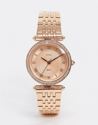 Fossil ES4711 Lyric bracelet watch in rose gold