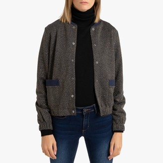 Only Herringbone Bomber Jacket with Buttons and Pockets
