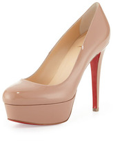 Christian Louboutin Bianca Patent Leather Platform Red Sole Pump, Nude