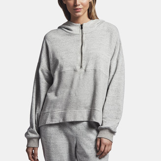 James Perse Cotton Hooded Patched Sweat Top