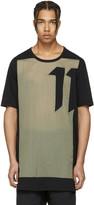 11 By Boris Bidjan Saberi Black and Green Block Cut T-shirt
