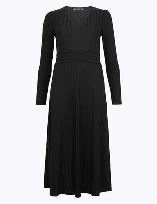 Marks and Spencer Ribbed Jersey Fit & Flare Midi Dress