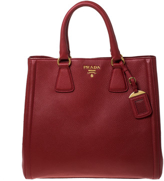 Prada Red Leather Vitello Daino Shopper Tote