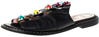 Fendi Black Leather Flowerland Slide Sandals Size 39